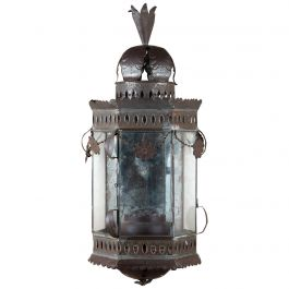 19th Century Bronze Metal Wall Lantern with Original Glass Panels
