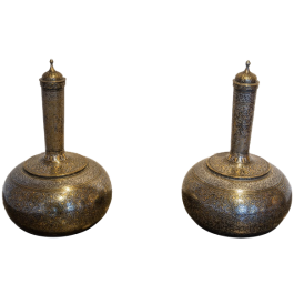 A pair of large Indian surahi flagons