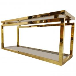Brass Two-Tier Console Table with Smoked Glass, 1970s