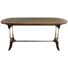 NEOCLASSICAL STYLE WOOD LEATHER BRASS COFFEE TABLE