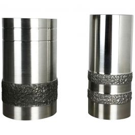 Set of 2 Modernist Vintage 1970s Sculptural Brutalist Steel Vases, Germany 1970s
