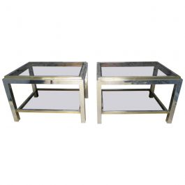 Pair of Brass and Chrome End Tables by Jean Charles