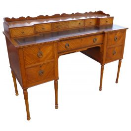 20th Century English Edwardian Satinwood Carlton House Style Desk