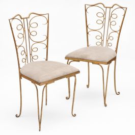 1940s French Gilt Side Chairs Attributed to Rene Prou