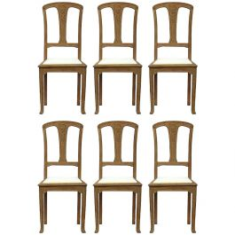Six Art Nouveau Dining Chairs French Arts and Crafts Oak, circa 1900