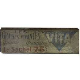 VINTAGE FRENCH VITA LES GRAINES VIVANTES WOODEN SIGN