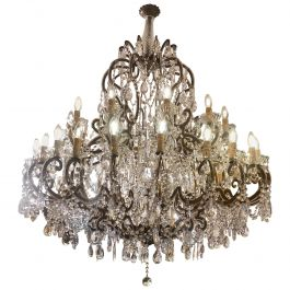 Large Italian Traditional Florentine Two-Tiered 36 Arm Chandelier