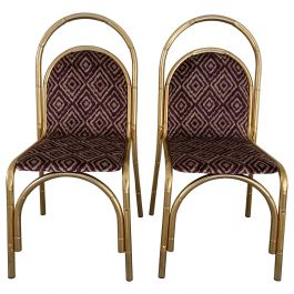 Mid-Century Modern Italian Pair of Faux Bamboo Gilt Metal Chairs, 1970s