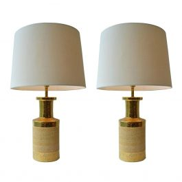Pair of Gold Glaze Border Earthenware Lamps