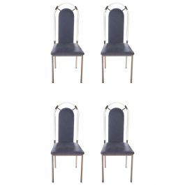 Set of Four Chairs Lucite and Gunmetal by Maison Jansen, 1970s