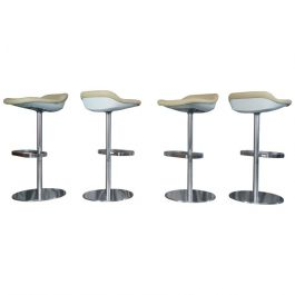 2005s Set Of Four Leather Turtle Bar/Counter Stools