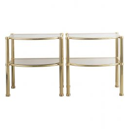 Pair of Italian Brass and Fume Glass Sidetables
