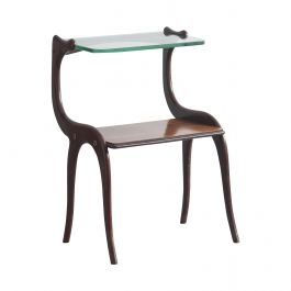 Italian Rosewood Side Table with Glass Top