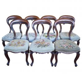 Set of 7 19th Century Victorian Walnut Dining Chairs