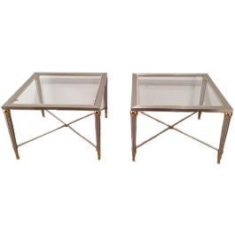 PAIR OF BRUSHED STEEL AND BRASS SIDE TABLES. 1970