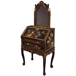 Chinese Export Lacquer Bureau on Stand and Toilet Glass