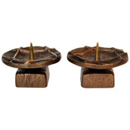 1970s Pair Of Bronze Candleholders
