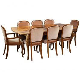 20th Century French Style Burr Walnut Dining Suite by H&L Epstein