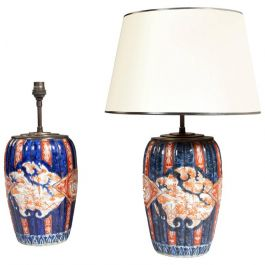 Fine Pair of Small-Scale Japanese Imari Lamps