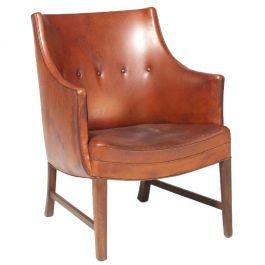 Frits Henningsen Cognac-Color Leather Armchair in Original Condition