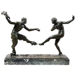 Bronze Sculpture Figural Group of a Dancing Satyr and Bacchante