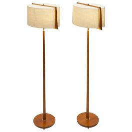 Pair of Teak & Brass Swedish Modern Floor Lamps with Unique Shades in Frame