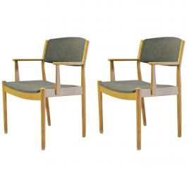Set of Two Danish Poul Volther Refinished Armchairs in Oak, Inc. Reupholstery