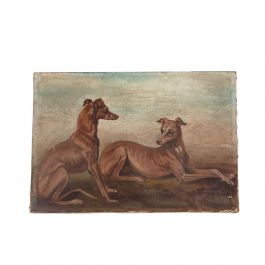 Oil on Canvas Painting of Whippets