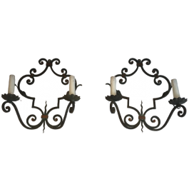 PAIR OF LARGE DECORATIVE WROUGHT IRON WALL SCONCES