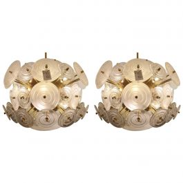 Pair of Italian Brass Chandeliers with Round White Glasses