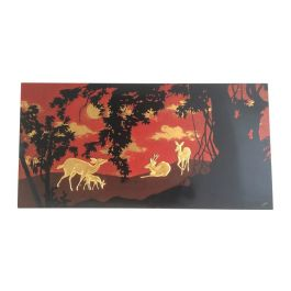 1950s Lacquered Panel with Ram and Does Decor