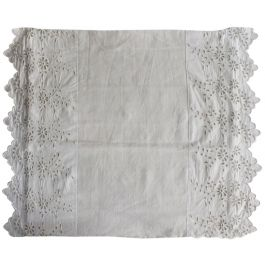 50cm Square Cushion - Antique French Embroidered Edging on Linen P363