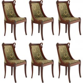 Six Dining Chairs French Empire Revival Swan Neck to Recover