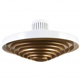 Large Brass Louvered Diffuser Flush Mount by Lisa Johansson-Pape by Orno Finland