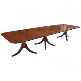 20th Century English Antique Regency Style Solid Mahogany Pedestal Dining Table
