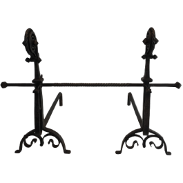 EXCEPTIONAL PAIR OF HAMMERED WROUGHT IRON ANDIRONS
