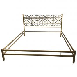Mid-Century Modern Italian Solid Brass Queen Size Bed, 1970s