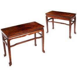 Pair of Chinese Qing Dynasty Longyanmu Side Tables