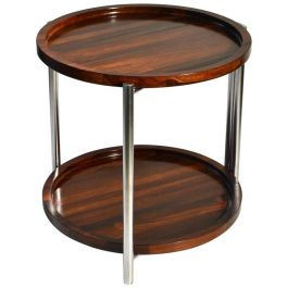Side Table with Two Round Palisander Trays