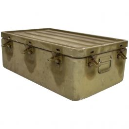 WWII Military Aluminium Box Original Olive Green, Industrial, Midcentury Period