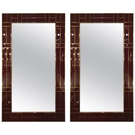 Pair of Italian Mirror in Bordeaux Venetian Glass with Brass Details, circa 1980