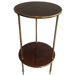 ROUND MAHOGANY AND BRASS SIDE TABLE. FRENCH