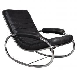 Italian Milo Baughman Style Rocking Chair in Chrome and Leather, circa 1970