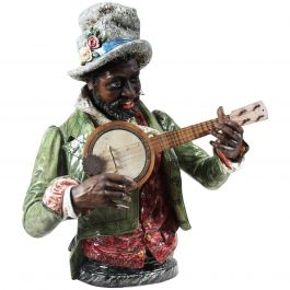 Majolica Pottery Man Sculpture Playing the Mandolin