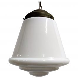 Large Stepped Opaline Pendant Light 1930s, France