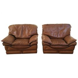 Italian Genuine Leather Armchairs By Colombo From 1970s