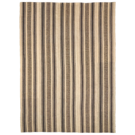A LARGE STRIPED FLATWEAVE RUG