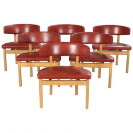 Set of Six Danish Borge Mogensen Conference Chairs in Oak, Inc. Reupholstery