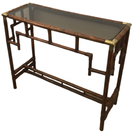 Bamboo Console With Brass Corners And Smoked Glass