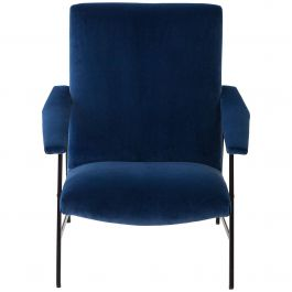 Fully Restored 1950s Italian Blue Velvet and Black Iron Armchair